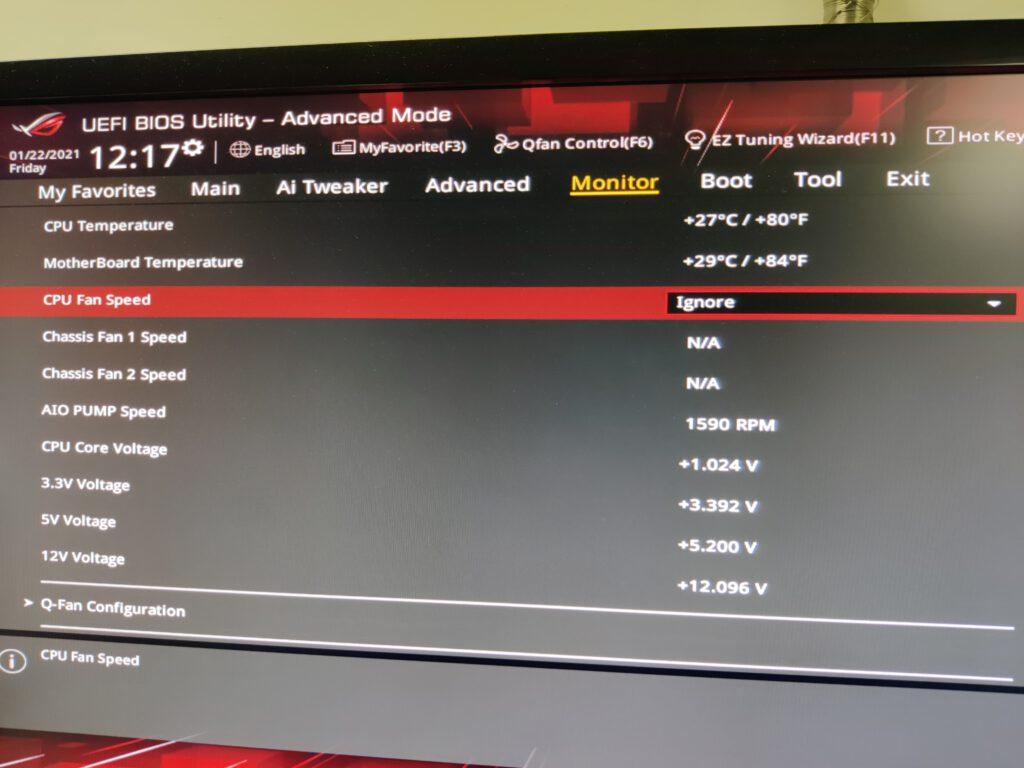 cpu fan speed error